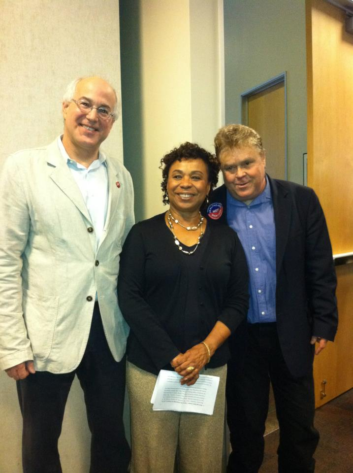 PDAers Michael Lighty and Tim Carpenter with Barbara Lee