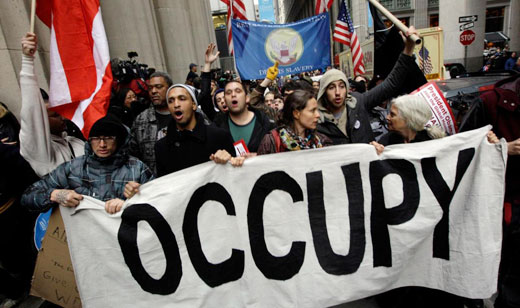 OWS demonstrators march in the NYC financial district, Nov. 17