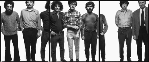 "The ""Chicago Seven,"" tryptichally photographed by Richard Avedon, Sept. 25, 1969. L-R: Lee Weiner, John Froines, Abbie Hoffman, Rennie Davis, Jerry Rubin, Tom Hayden, and David Dellinger"
