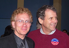 Brown with Wisconsin socialist and PDA activist John Nichols, Ohio, April 2009