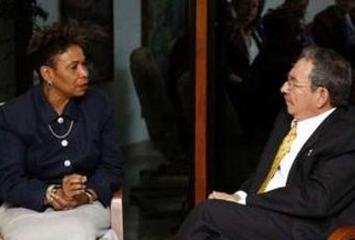 Barbara Lee with Raul Castro