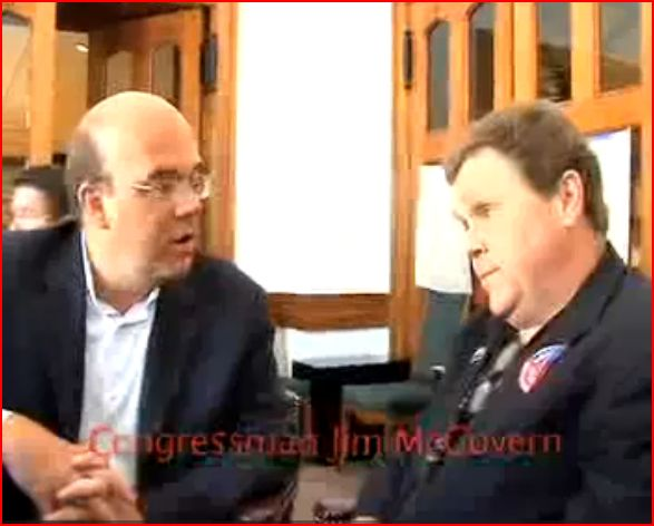 PDA's Tim Carpenter interviews Jim McGovern,during a PDA Progressive Central event, at the DNC, Denver Sep. 2008