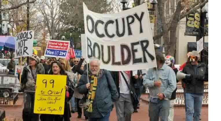 David Anderson (center) at Occupy Boulder
