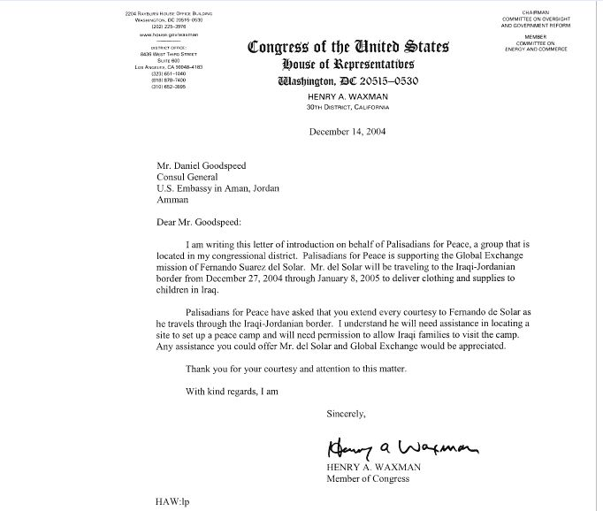 diplomatic courtesy letter from Rep. Henry Waxman to Daniel Goodspeed, Consul General, U.S. Embassy in Aman, Jordan. Dec. 14, 2004. (click to enlarge)