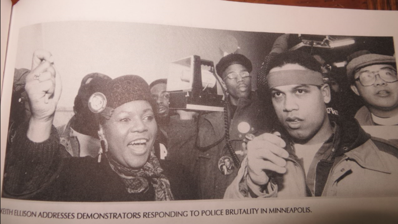 Keith Ellison (right) in his activist days responding to