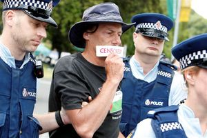 Police arrest protester john minto as the pro pale 1469319554.jpeg